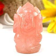 Rose Quartz Ganesha-Right Trunk-70 gms