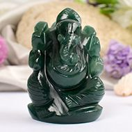 Ganesha in Columbian Green Jade  - 71 gms