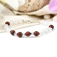 White Agate and Red Sandalwood Bracelet