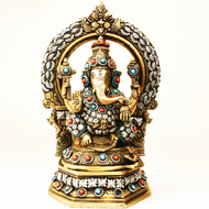 Brass Lord Ganesha Idol with Stone Work - Design I