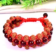 Semi Chikna Rudraksha and Red sandal beads bracelet