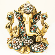 Brass Lord Ganesha Idol with decorative Work - Design III