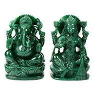 Divine Pair of Ganesh Laxmi in Columbian Green Jade