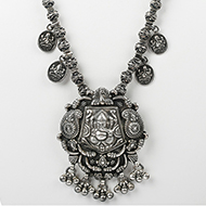 Designer Ganesh Necklace in pure silver