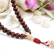 Red Sandal and Tulsi beads Mala