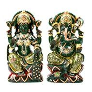 Divine Pair Ganesh Laxmi in Columbian Green Jade-II