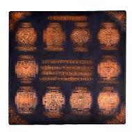 Shree Dus Mahaavidya Maha yantra in Copper - Antique finish - 9 inches