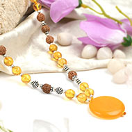 Yellow Citrine and Rudraksha beads Mala