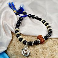 14 mukhi Rudraksha and Blue Sapphire Bracelet - II (Third Eye)