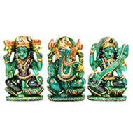 Exotic Laxmi Ganesh Sarawati Idols in Green Jade