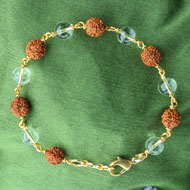 Rudraksha and Crystal Beads Bracelet in Copper Gold Polish wire