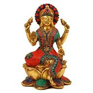Brass Maa Laxmi Idol with Stone Work - II