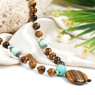 Tiger Eye and Amazonite beads Mala