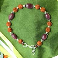 Ruby with Rudraksha Beads Bracelet