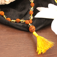 4 mukhi Java mala with Citrine beads