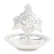 Flower Incense Stand in Pure Silver