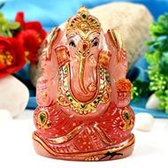 Exotic Ganesha Idol in Rose Quartz-393 gms