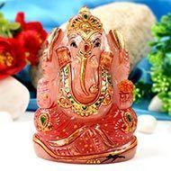 Exotic Ganesha Idol in Rose Quartz-393 gms