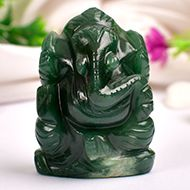 Ganesha in Columbian Green Jade  - 81 gms