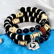 14 mukhi Rudraksha and Blue Sapphire Bracelet - III (Third Eye)