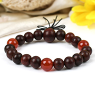 Red Sandalwood and Orange Carnelian Bracelet - II
