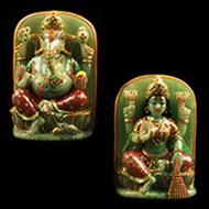 Divine Pair Ganesh Lakshmi in natural Green Jade - I
