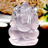 Rose Quartz  Ganesha - 37 gms - I