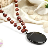 Black Agate and Red Sandal Beads Mala