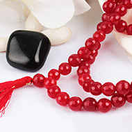 Red Agate Faceted mala - 8mm