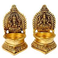 Ganesh - Laxmi Diya in brass (Set of 2)