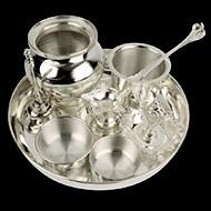 Puja Thali in pure silver - Design I
