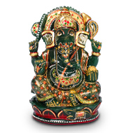 Exotic Ganesh idol in Columbian Green Jade - 1110 gms