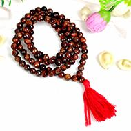 Red Tiger eye Faceted round mala - 8 mm