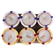Diwali Earthen Wax Diyas - Set of 6 - Design XI