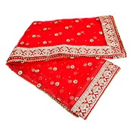 Mata Ki Chunni Puja Net Cloth Flower Border Embroidery