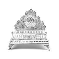 Om Swastik deity throne in pure silver