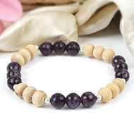 Amethyst and Tulsi beads bracelet
