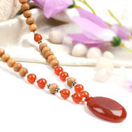 Orange Carnelian and White Sandal beads Mala