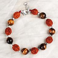 Rudraksha Tiger Eye Round beads Bracelet