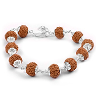 7 mukhi Mahalaxmi bracelet from Java with silver flower caps