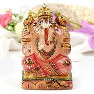 Exotic Ganesh Idol in Rose Quartz - 475 gms