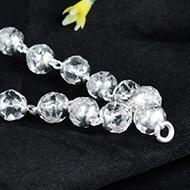 Sphatik mala in silver flower caps - 7 mm