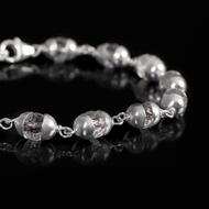 Sphatik Diamond cut bracelet in silver caps - 6mm