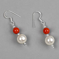 Pearl and Coral bead Earrings - I