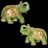 Green Jade Elephants - Set of 2