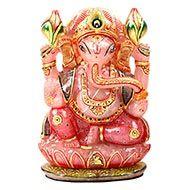 Exotic Ganesha Idol in Rose Quartz-1.640 Kgs