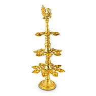 Three tier Peacock lamp in Brass