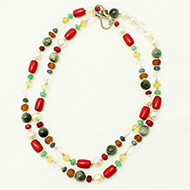 Navaratna mala with silver beads