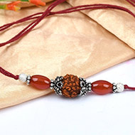 4 Mukhi Rakhi Carnelian Beads with German silver accessories