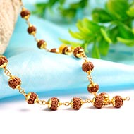 Rudraksha Mala 6mm in 22ct gold with flower caps